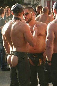 Naked men in leather chaps