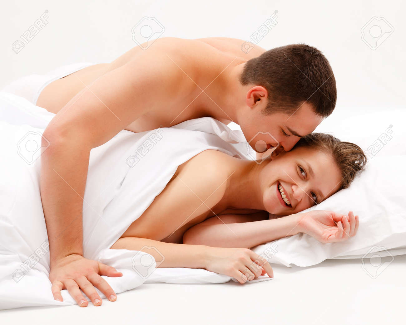Man naked woman in bed